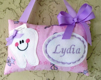 Tooth Fairy Pillow Pink and Purple Princess Glittered Material