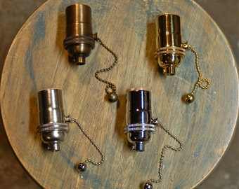 Solid Brass Light Socket, Pull-Chain Version, 4 Different Finishes - Top Quality Supplies For Your Handmade Lighting, Lamps, Pendants