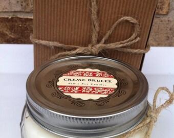 Wedding candle Favor Mason Jar -Creme Brulee-8 oz 100% Soy-