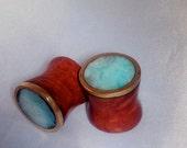 Peruvian opal, manzanita and bronze plugs--Item #102