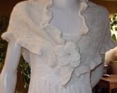 Wedding SHAWL ETOLE angora  Ivory  ruffle sides  pin flower