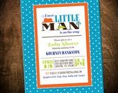 Printable Little Man Baby Boy Shower Invitation- 5x7