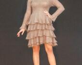 Knit dress of mohair - silk  yarn  with ruffles
