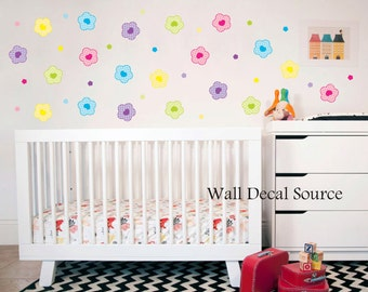 Flower Wall Decals - Colorful Flower Wall Decals - Girls Wall Decals - Flower Decals