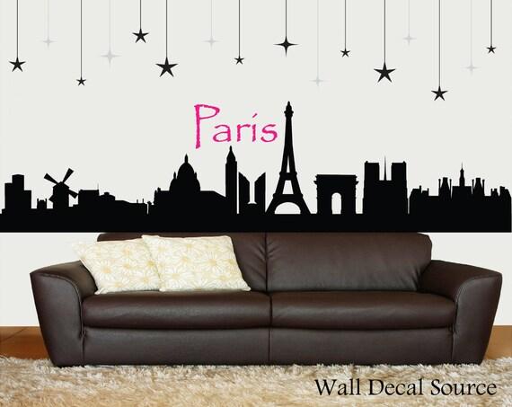 items similar to paris skyline silhouette wall decal paris wall art eiffel tower decor on etsy. Black Bedroom Furniture Sets. Home Design Ideas