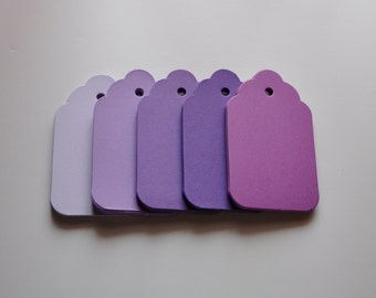 "50 Large Blank tags with scalloped top, hole for string , 5 shades of  Purple tag, pick a color. Wedding wish tree tags,4""x 2.25"""