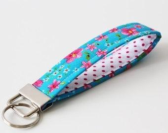 Key Fob / Key Chain / Fabric Key Chain / Fabric Key Fob / Key Strap - Flowers - Aqua Blue, Pink