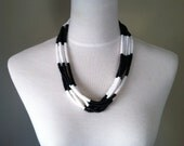 Vintage Black and white multi strand beaded necklace
