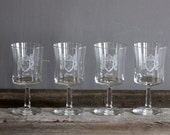 Set of Crested Vintage Wine Glasses