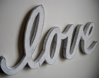 Vintage inspired love wood sign shabby chic cottage chic wedding decor