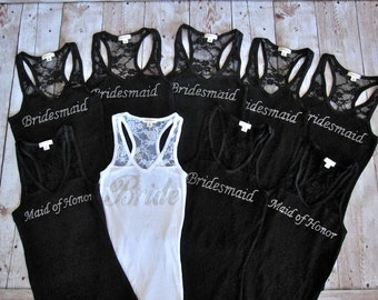10 Bridesmaid Tank Top Shirt. Bride, Maid of Honor, Matron of Honor. Lace. Bachelorette Party Shirts