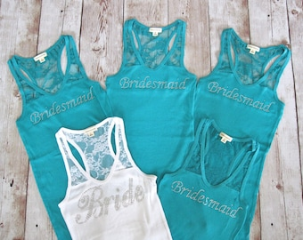 5 Bridesmaid Tank Top Shirt. Half Lace.  Bride, Maid of Honor, Matron of Honor. Bachelorette Party Shirts, Bridesmaid Shirts, Bride Shirt