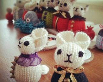 Two Amigurumi Crochet Bunnies