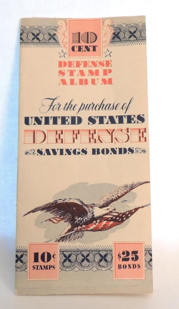 1942 10 Cent Defense Stamp Album WWII Saving Bonds
