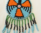 Vintage Native American Navajo Phoenix Turquoise Coral Jet Seed Bead Necklace