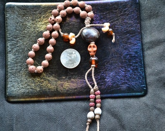 Hand Knotted, Red Lava Pirate or Hawaiian Wrist Mala.