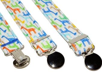 Suspenders - White with Colorful Giraffe's Suspenders