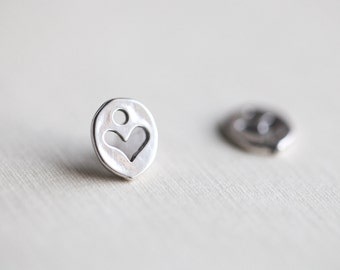Oxidized Sterling Silver Heart Outline Tiny Charms - small sterling silver heart charm