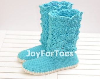 Lace Crochet Boots for the Street boots Outdoor Shoes Boots Made to Order Blue Cotton Candy