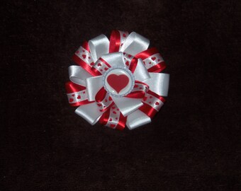 NEW Valentine's Day Hearts bottlecap hairbow clip red and white