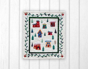 Village in the snow miniature quilt pattern