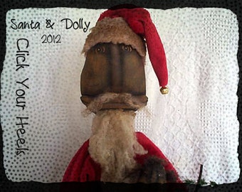 E Pattern Black Santa and Dolly Click Your Heels