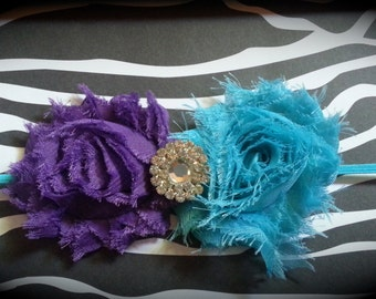 2.5 inch shabby chic double rosette headband - turquoise and purple