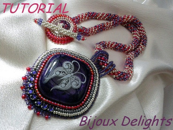 Tutorial bead embroidery necklace by bijouxdelights on etsy