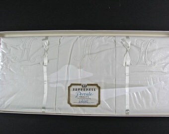 "Monogrammed ""H"" Percale Top Sheet & 2 Pillowcases  in Original Box by Pepperell"