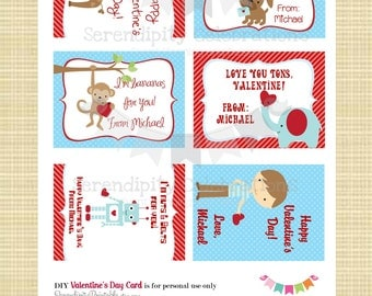 DIY Printable Valentine Cards, Classroom Cards, Digital Holiday Cards, Valentine Cards