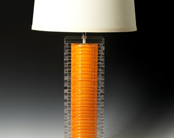 orange table lamp. Modern lighting, acrylic lamp, bedside lamp, ceramic lamp, desk lamp, modern ceramic lamp. Handcrafted lighting.