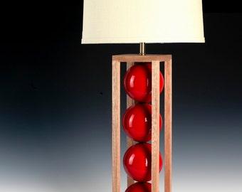red table lamp. Modern lighting,  wood lamp, bedside lamp, ceramic lamp, desk lamp, modern ceramic lamp. Handmade lighting, metal lamp.