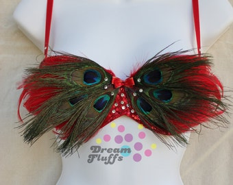 SALE Beautiful Red Peacock Feather Bra 34 A