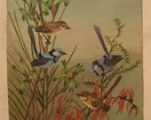 Original Naive Bird Painting with 2 Blue Birds.