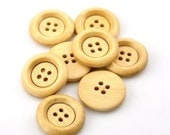 "16 Round Wood Button Four Hole Natural Colour 23mm (7/8"") - 16 Pack PWB26"