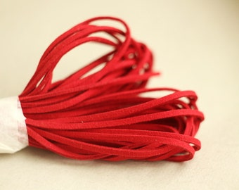 Red  Suede cord - high quality soft faux cord 2 m - 2,18  yards or 6,5 feet