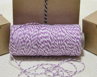 25 yards Bakers twine purple/white 4ply cotton for tags packaging scrapbooking cards banners clearance sale
