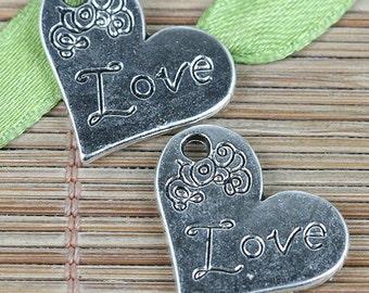16pcs tibetan silver color heart shaped Love charms EF0347