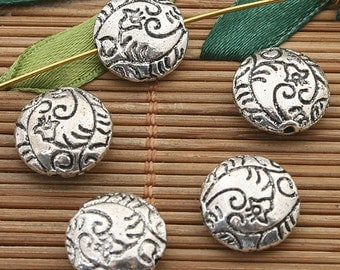 15pcs dark silver tone Oblate spacer beads h3685