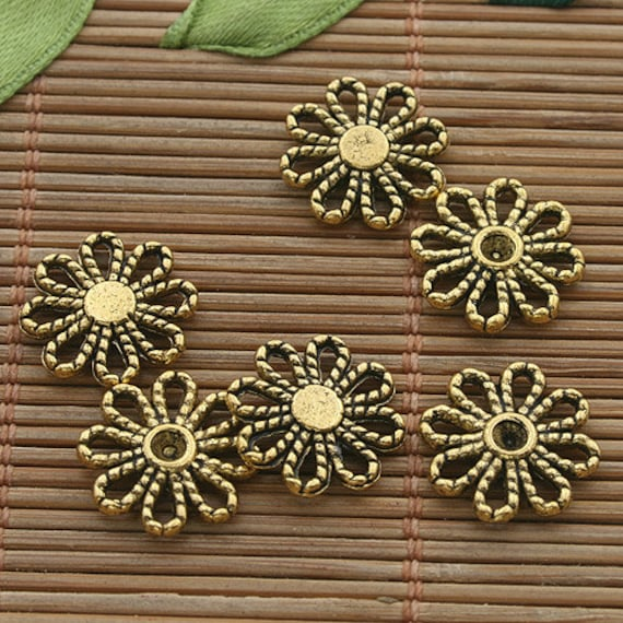 60pcs dark gold tone flower daisy connector h3546