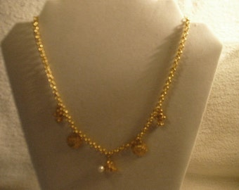 Marked with a Small M in Circle Gold 19 Inch Chain Necklace with Charms