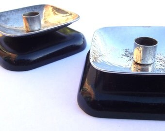 Pair of Mid Century Modernist Scandinavian Berg style silver plated and ebonised wood taper/candle holders