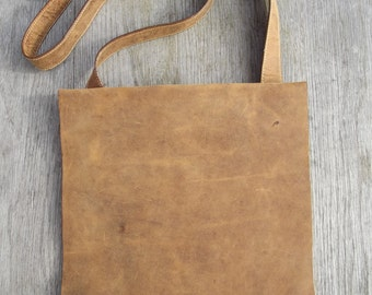 Vintage soft brown nubuck leather messenger/cross body bag by JANO DAVE