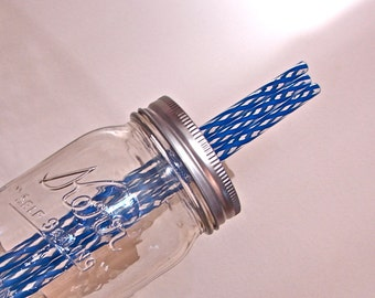 Straws -Reusable- Eco Friendly BPA Free Striped Straws - Extra or Replacement Straws For Mason Jar Commuter Lids - Blue and Clear  10 Pieces