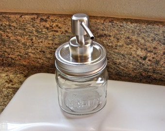 Mason Jar Soap or Lotion Pump - 8 Ounce Square Mason Jar - Handmade - Brushed Stainless Finish