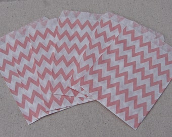 Chevron Stripe Party Favor Bags - Pink and White - 25 Bags