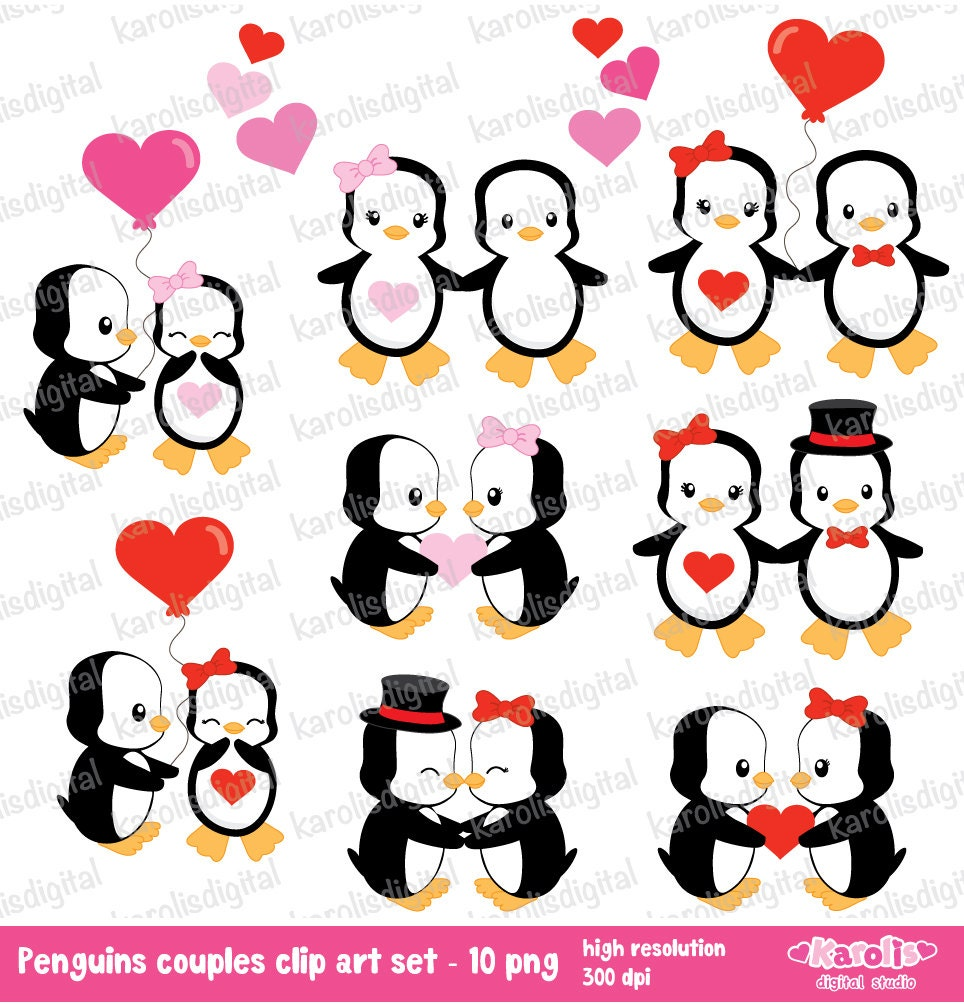 Love Penguins couples Valentine's day clip art by karolisdigital: www.etsy.com/listing/119493370/love-penguins-couples-valentines-day