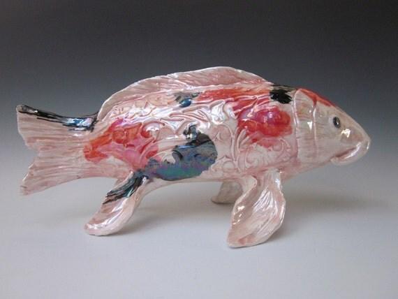 Items similar to koi fish sculpture hand made fish for Koi fish statue