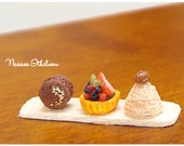 Dessert Set with Chocolate Coffee Macaroon, Berry Tart and Chestnut Mont Blanc - 1:12 dollhouse miniature sweet