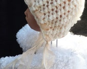 hand knitted peaches and cream baby girl  pixie hat  perfect photo prop  06 month